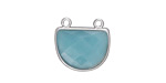 Amazonite Faceted Half Moon w/ Silver Finish Bezel Focal 17x16mm