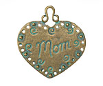 Patina Green Brass Mom Heart Pendant 34mm