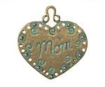 Patina Green Brass (plated) Mom Heart Pendant 34mm