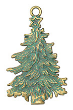 Patina Green Brass (plated) Christmas Tree Focal 42x68mm