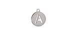 """Stainless Steel Initial Coin Charm """"A"""" 10x12mm"""