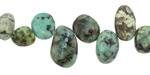 African Turquoise Nugget Drops 6-10x9-17mm