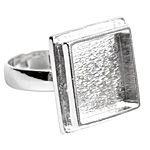 Nunn Design Sterling Silver (plated) Traditional Square Adjustable Ring 21mm