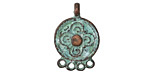 Greek Copper (plated) Patina 1-4 link Folk Art Flower Chandelier 15x23mm