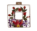 Patricia Healey Copper Bound Pressed Floral Resin Square Pendant 31mm