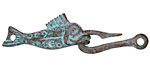 Greek Copper (plated) Patina Fish & Hook Clasp 45x12mm