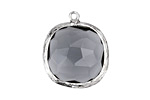 Black Diamond Faceted Crystal in Silver (plated) Textured Bezel Square Pendant 23x26mm