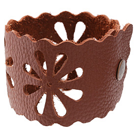 "The Lipstick Ranch Terra Cotta Leather Cuff Bracelet w/ Floral Cut Out 2"" x 9"""