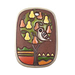 Golem Studio Partridge on a Pear Tree Terra Cotta Carved Ceramic Rectangle 30x42mm