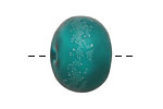 A Beaded Gift Silvered Teal Tumbled Glass Rondelle (hollow) 13-15x18-21mm