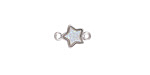 Metallic Crystal Druzy Star Link in Silver Finish Bezel 12x8mm