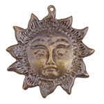 Greek Antique Brass (plated) Sun Face Focal 51x53mm