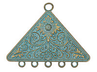 Zola Elements Patina Green Brass (plated) Floral Triangle Chandelier Pendant 58x45mm