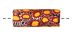African Trade Bead (orange, red w/ blue) Tube 29-34mm