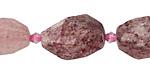 Strawberry Quartz Faceted Nugget 16-22x13-15mm