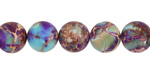 Purple & Turquoise Impression Jasper Round 10mm