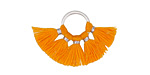 Tangerine Small Fanned Tassel on Ring w/ Silver Finish 29x19mm