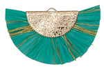 Green Turquoise w/ Metallic Gold Fringed Raffia Focal 45x27mm