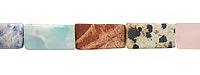 Matte Multi Gemstone (Dalmatian Jasper,Picture Jasper, Green Aventurine, Red Bend Jasper, Sodalite, Rose Quartz) Brick 15-16x8mm
