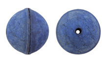 Natural Blue Leather Round Bead 26-29mm
