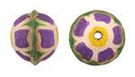 Hand Painted Purple Primrose Leather Round Bead 20-22mm