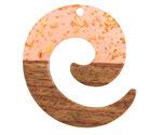 Walnut Wood & Blossom w/ Gold Foil Resin Koru Focal 36x37mm