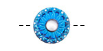 Czech Glass Capri Blue & Pearled Daisy Button 18mm
