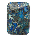Blue Mosaic Stone w/ Pyrite Thin Pillow Pendant 32x47mm