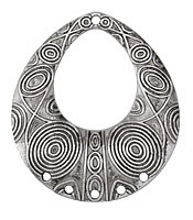 Zola Elements Antique Silver (plated) Psychedelic Teardrop Focal w/ Holes 52x59mm