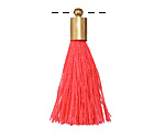 Neon Pink Thread Tassel w/ Gold (plated) Tassel Cap 30mm