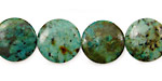 African Turquoise Puff Coin 14mm