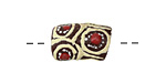 African Hand-Painted in Red/Cream/White on Brown Powder Glass (Krobo) Bead 17-19x11-12mm