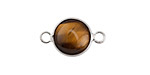 Tiger Eye Coin Focal Link w/ Silver Finish 21x13mm