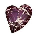 Purple Impression Jasper Heart Pendant 35x44mm