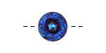 Czech Glass Blue Iris on Jet Wreath Button 14mm