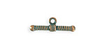 Vintaj Copper Verdigris (plated) Ribbed Toggle Bar 7x20mm
