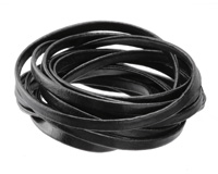 Black Faux Leather Flat Cord 5mm