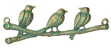 Patina Green Brass (plated) 3 Little Birds Focal Link 72x26mm