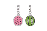 Half Watermelon Enameled Sterling Silver Charm w/ Bail 7x19mm