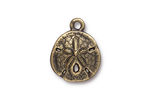 TierraCast Antique Brass (plated) Sand Dollar Charm 16x21mm
