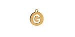 """Gold (plated) Stainless Steel Initial Coin Charm """"G"""" 10x12mm"""