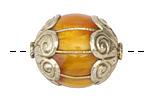 Tibetan Large Resin Amber & White Brass Bead 30x25mm