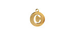 """Gold (plated) Stainless Steel Initial Coin Charm """"C"""" 10x12mm"""