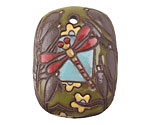 Golem Studio Red Dragonfly Carved Ceramic Rectangle Pendant 30x39mm