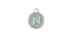 "Sweet Mint Enamel Silver Finish Initial Coin Charm ""N"" 12x14mm"