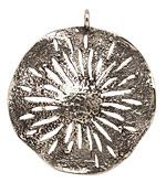 Saki White Bronze Sand Dollar Pendant 45x51mm
