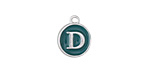 "Peacock Green Enamel Silver Finish Initial Coin Charm ""D"" 12x14mm"
