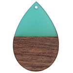 Wood & Green Turquoise Resin Teardrop Focal 32x48mm