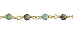 African Turquoise Faceted Round 4mm Brass Bead Chain
