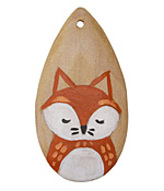 Summer Wind Art Sleepy Fox Wood Pendant 29x54mm